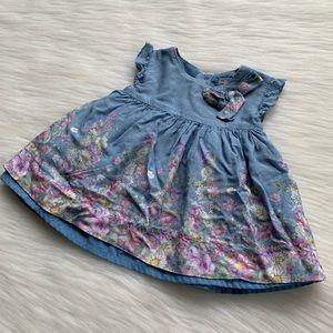 Mayoral Infant Blue & Floral Print Bow Dress